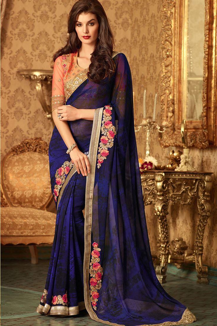74325bdc8512a Black-Navy Blue Georgette Bride-Mate Saree with Heavy Designer Blouse