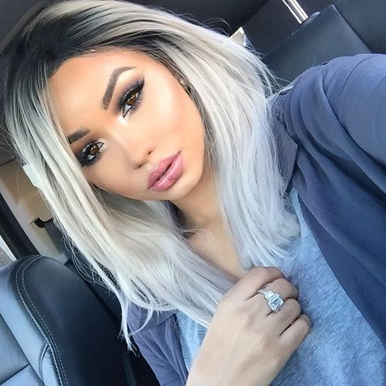 Silver White Ombre Hair Colors Lace Front Wigs For Black Teens ...