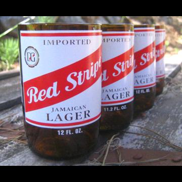 Fab Com Red Stripe Glasses Set 4 Beer Bottle Glasses Bottle Beer Bottle