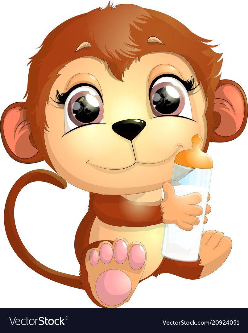Beautiful Cute Monkey Vector Image On Vectorstock Cute Monkey Monkey Drawing Cute Animal Clipart