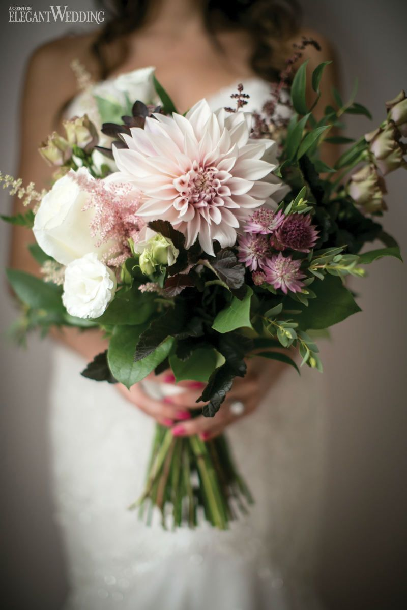 Rustic wedding bouquet with natural flowers elegantwedding