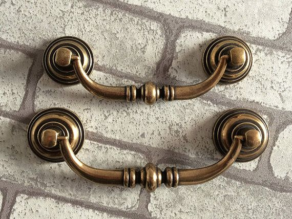 "3.5"" 4.25"" drop bail drawer pull dresser handles knob ring antique"