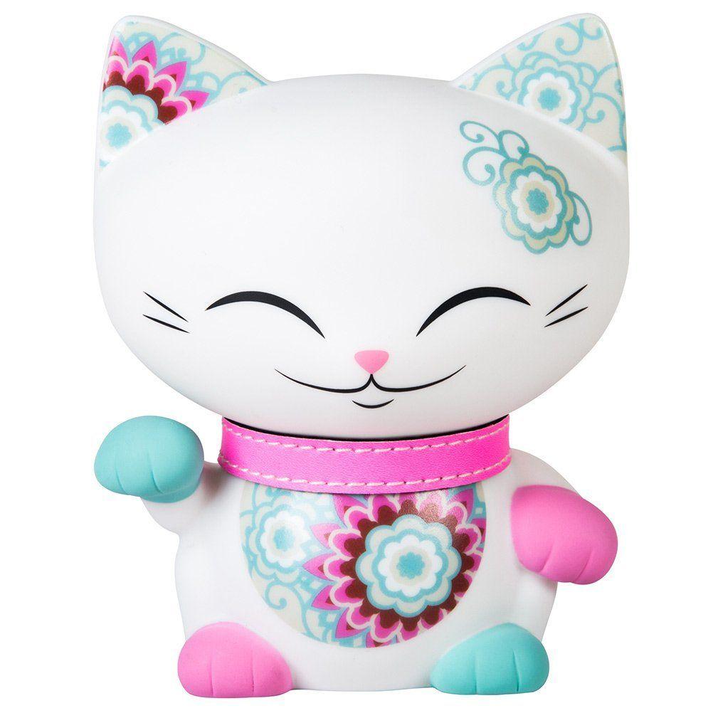 Chat porte bonheur maneki neko mani the lucky cat 11cm blanc collier rose cuisine - Porte bonheur chinois chat ...