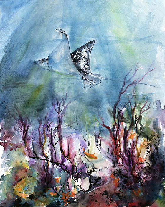 Underwater World Ray And Coral Reefs Watercolor Painting By
