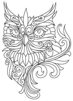 Baroque Owl Urban Threads Unique And Awesome Embroidery Designs Owl Coloring Pages Coloring Pages Free Printable Coloring Pages