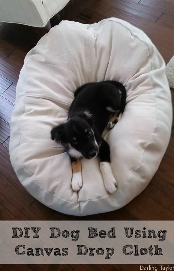 Diy Dog Bed Using Canvas Drop Cloth Dog Pillow Bed Diy Dog Bed Diy Dog Bed Pillow