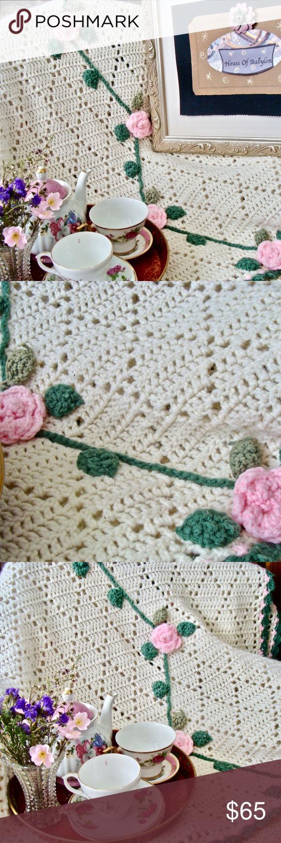Vintage Blanket Pink Cottage Rose Hand Knit This is a Lovely Vintage Hand Kn Vintage Blanket Pink Cottage Rose Hand Knit This is a Lovely Vintage Hand Kn Vintage Blanket...