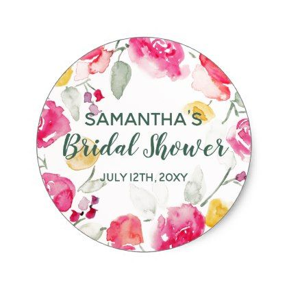 Watercolor Bridal Shower Favor Stickers Circle - bridal gifts bride wedding marriage