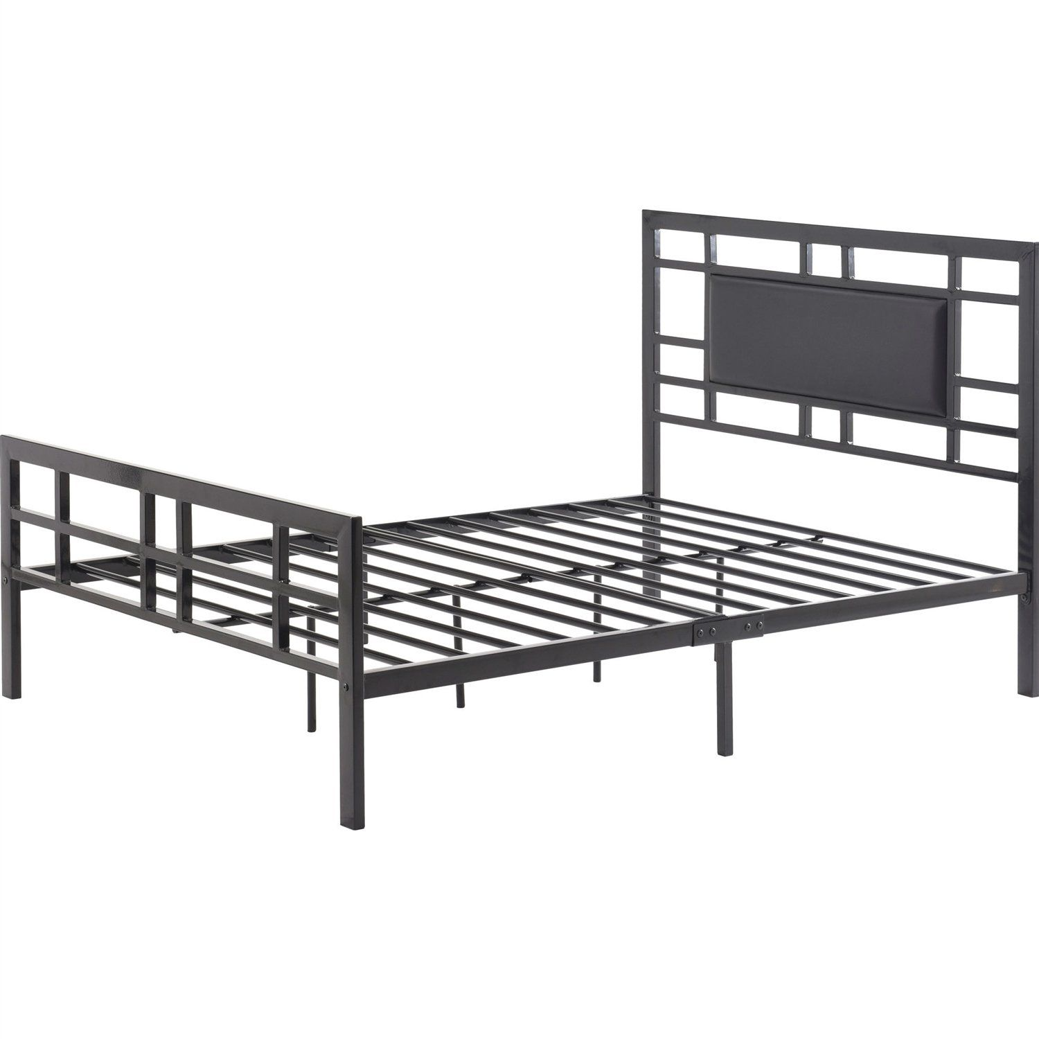 Full Size Modern Classic Metal Platform Bed Frame With Black