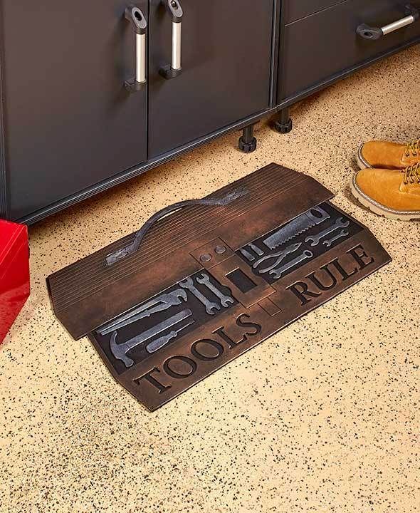 Rubber Garage Mats >> Garage Mat Tools Rule Man Cave Rubber Mat 18 X 30 Gift For Dad Or