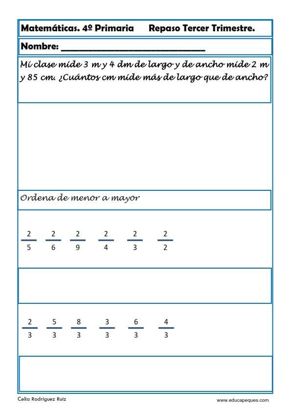 Fichas de Matemáticas Cuarto Primaria | Math Class | Pinterest ...