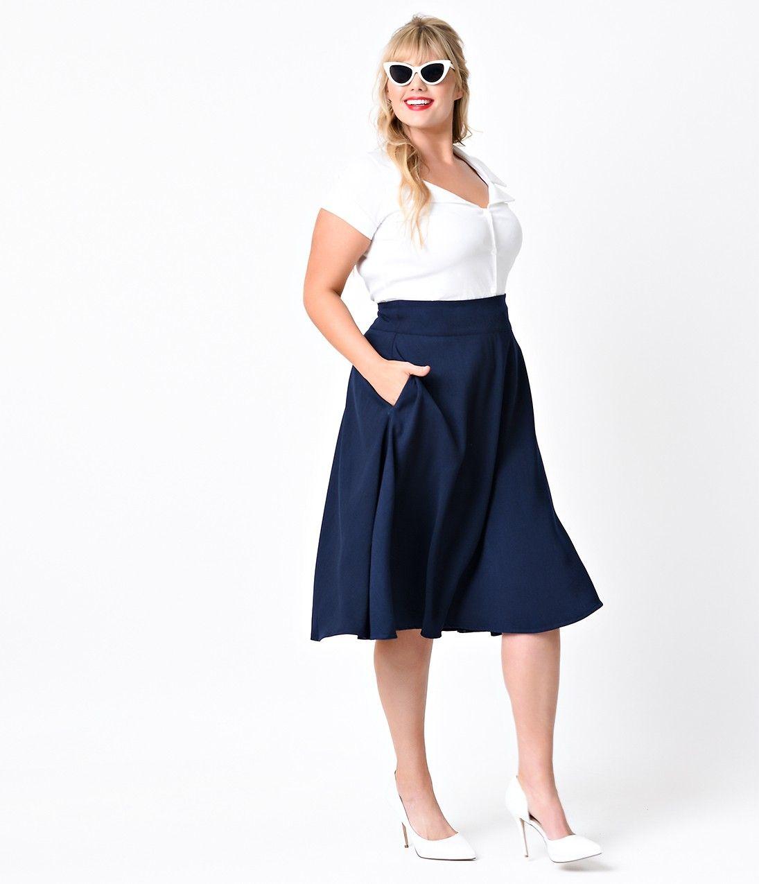 cb98d58def7 Unique Vintage Plus Size Retro Style Navy High Waist Vivien Swing Skirt