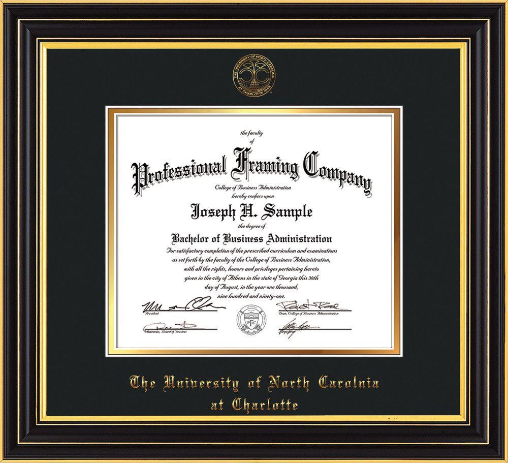 UNC Charlotte Diploma Frame - Satin Black - w/UNCC seal Black/Gold ...
