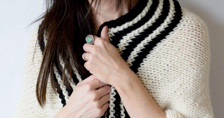 Classic Stripe Easy Knit Sweater (Blanket Sweater) #blanketsweater