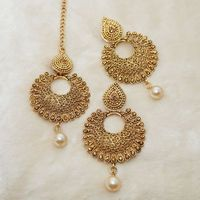 Kriaa Gold Plated Brown Austrian Stone Dangler Earrings With Maang Tikka @ Rs. 249/-