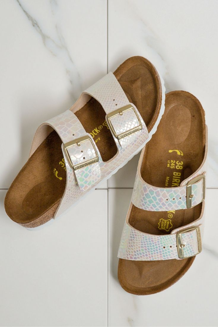 dab65f72a37 Buckle up to be mistaken for a mermaid in these gorgeous iridescent  beauties. Birkenstock Sandals