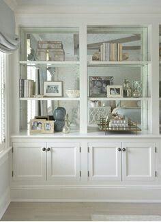 Bookshelf With Mirror Back