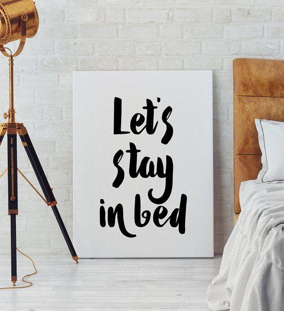 Letu0027s Stay In Bed Art Bedroom Wall Art Scandinavian By PxlNest
