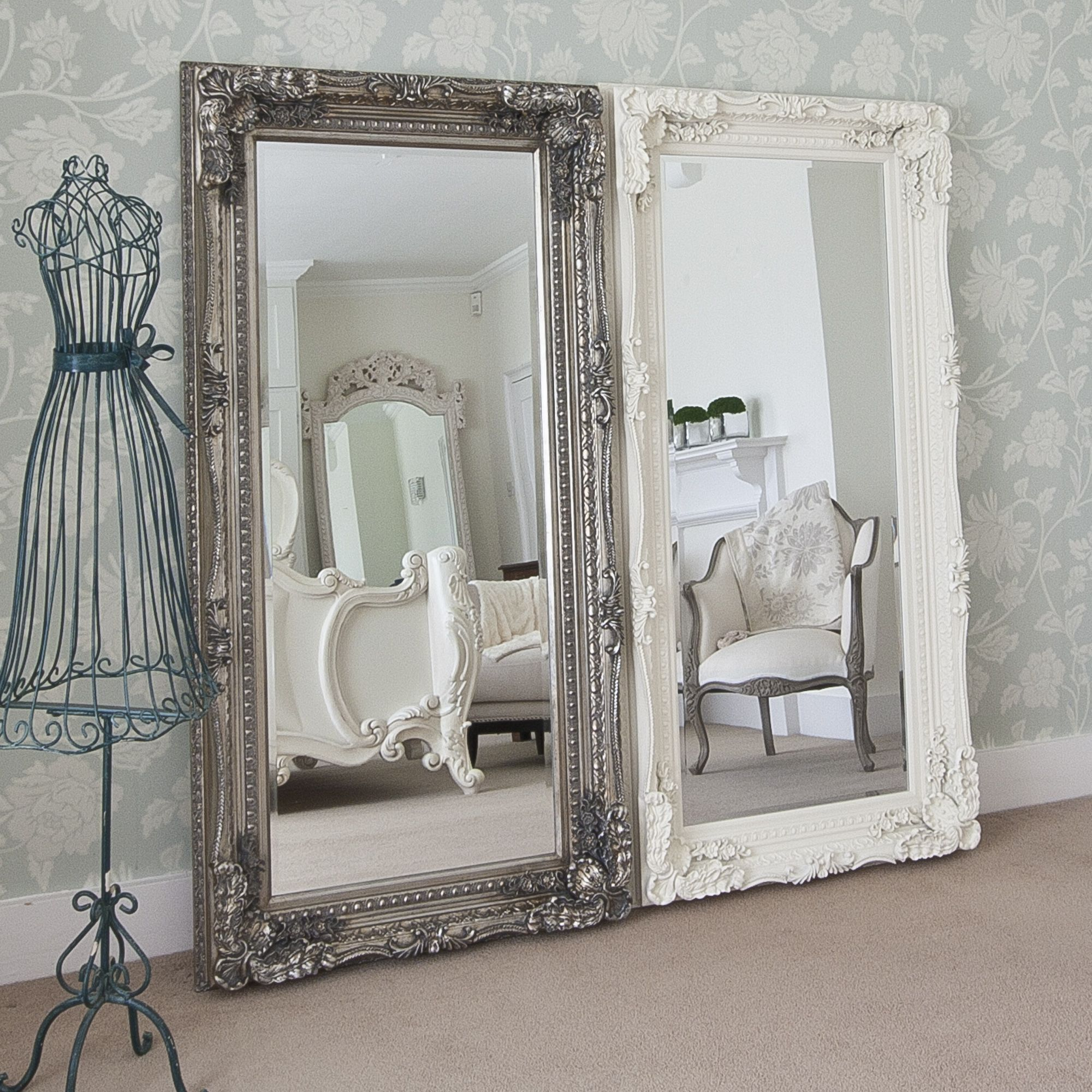 Grand Silver Full Length Dressing Mirror