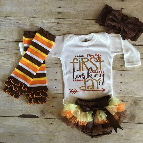 e6f57fa18 My first Thanksgiving, 1st Thanksgiving, My first turkey day, Newborn girl  Thanksgiving Day Outfit, My 1st Thanksgiving, Baby's First