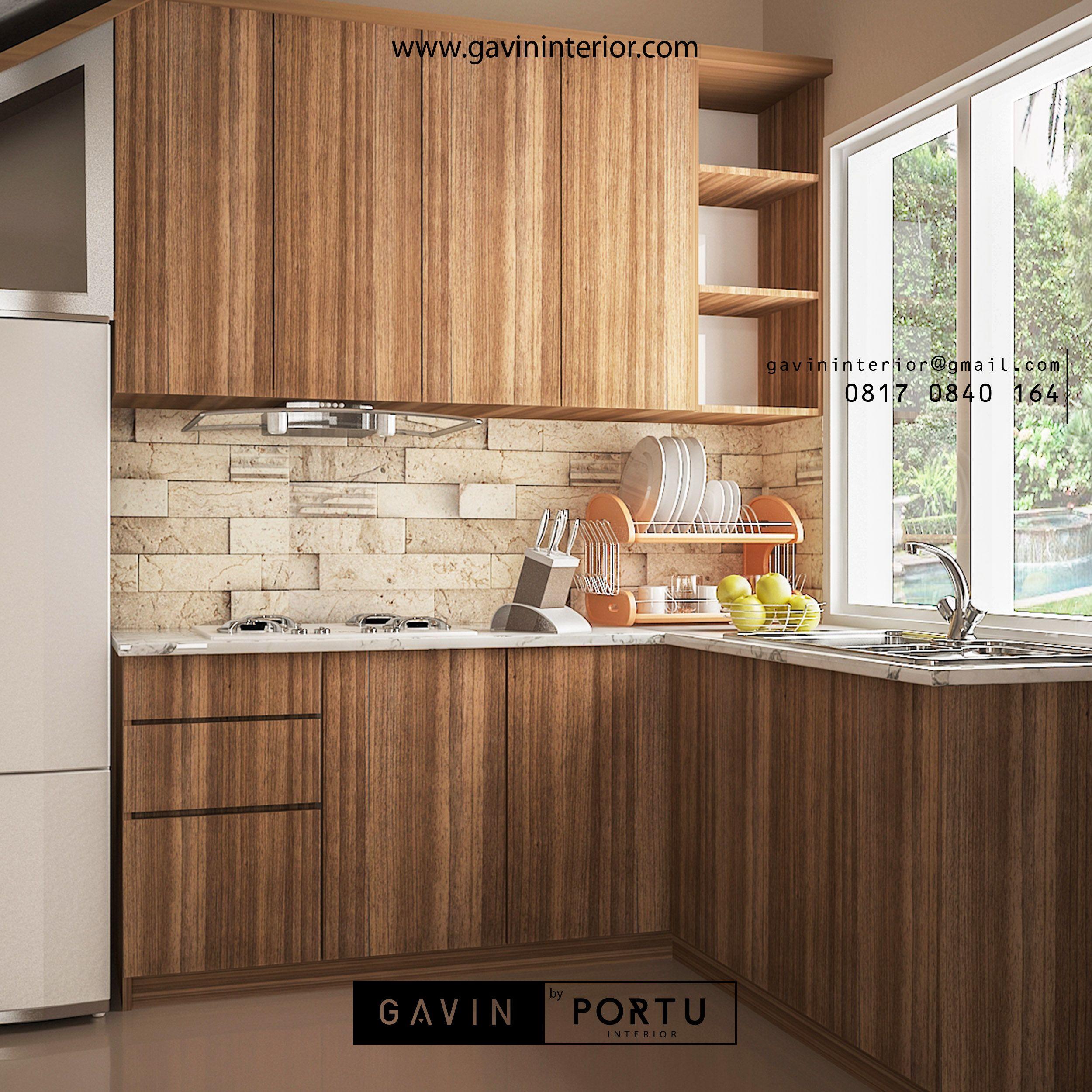 Model Kitchen Set Minimalis Letter L Pada Bagian Kabinet Atas Terdapat Kabinet Terbuka Dengan Finishing Hpl Dengan Top Table Solid S Dapur Minimalis Furniture