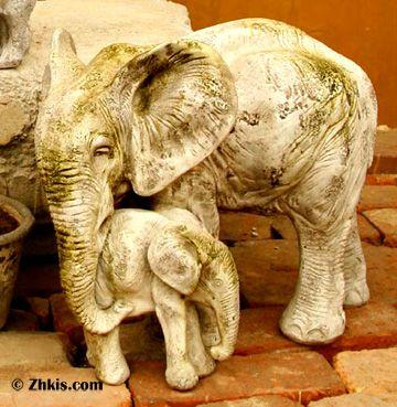 Elephant With Baby Statue Bull Elephant Elephant 400 x 300