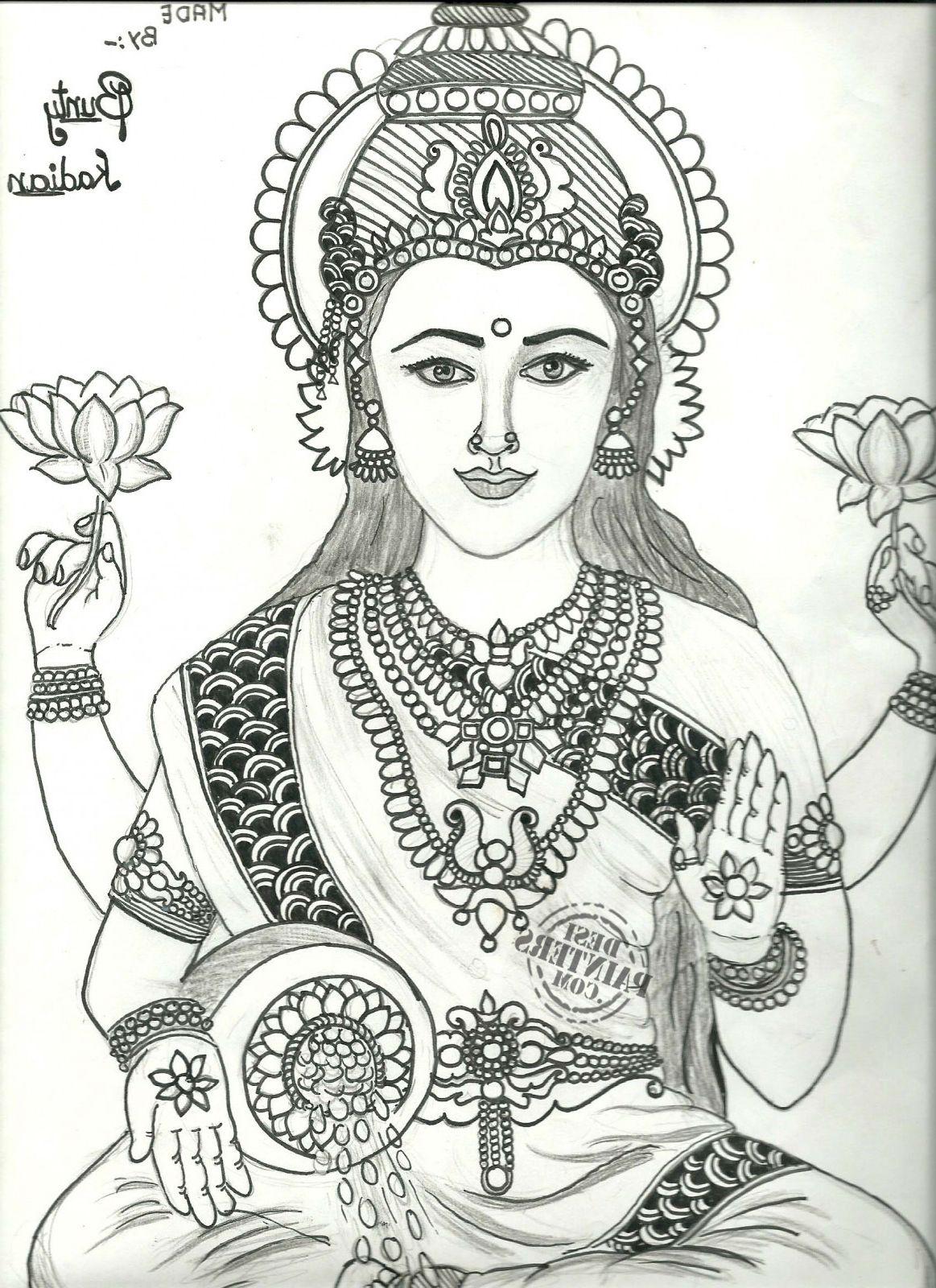 3d lakshmi drawing pencil sketch laxmi maa pencil sketch desipainters