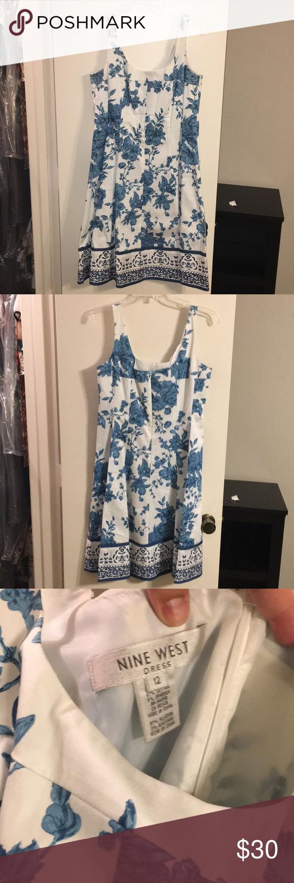 Nine West Dress Size 12 White With Blue Flowers Dresses Spring Summer Dress Summer Dresses [ 1740 x 580 Pixel ]