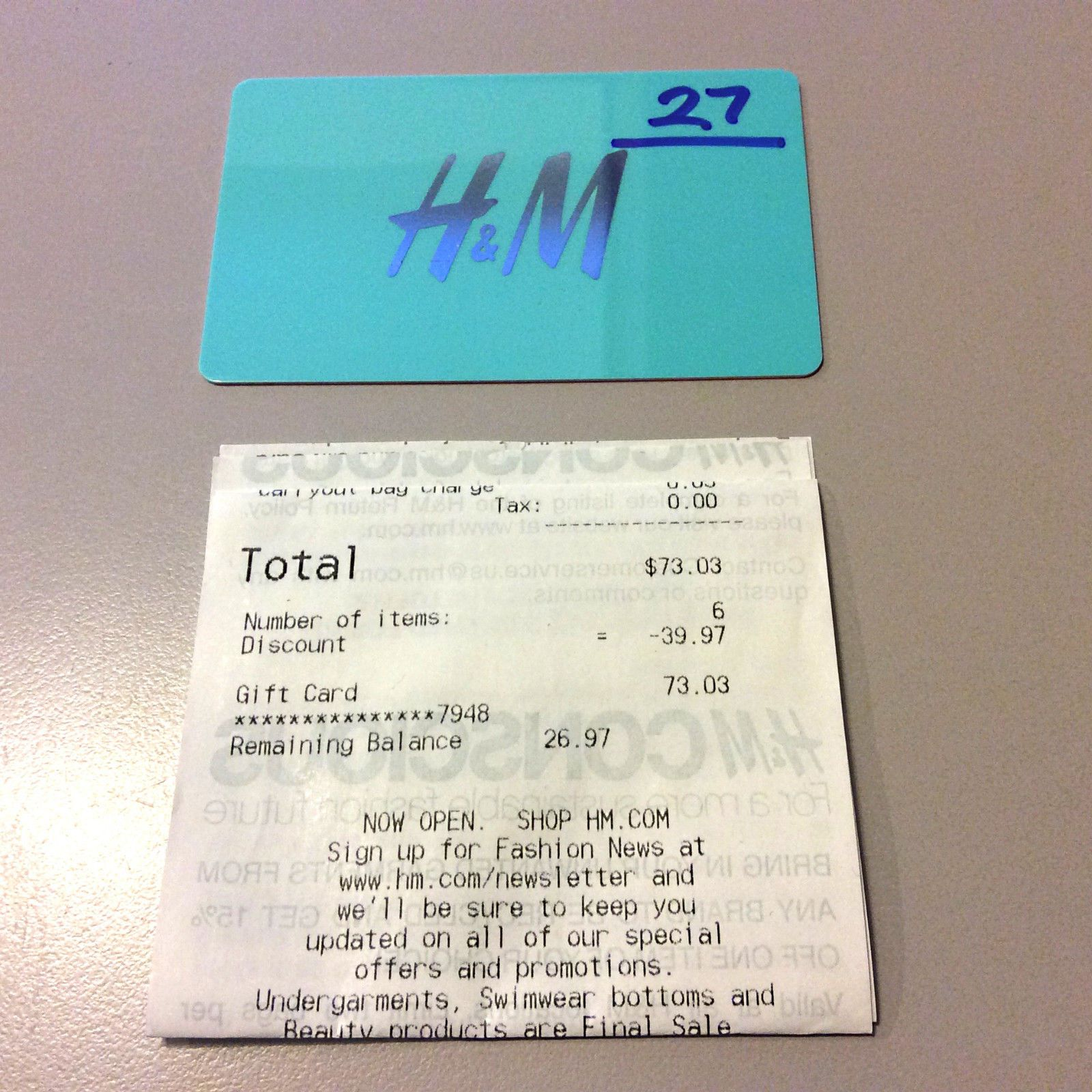 Hm gift card balance of 2697 valid in stores or online hm gift card balance of 2697 valid in stores or online negle Images