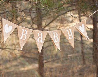 Baby Burlap Banner, Burlap Baby Banner, Baby Shower, Photo Prop