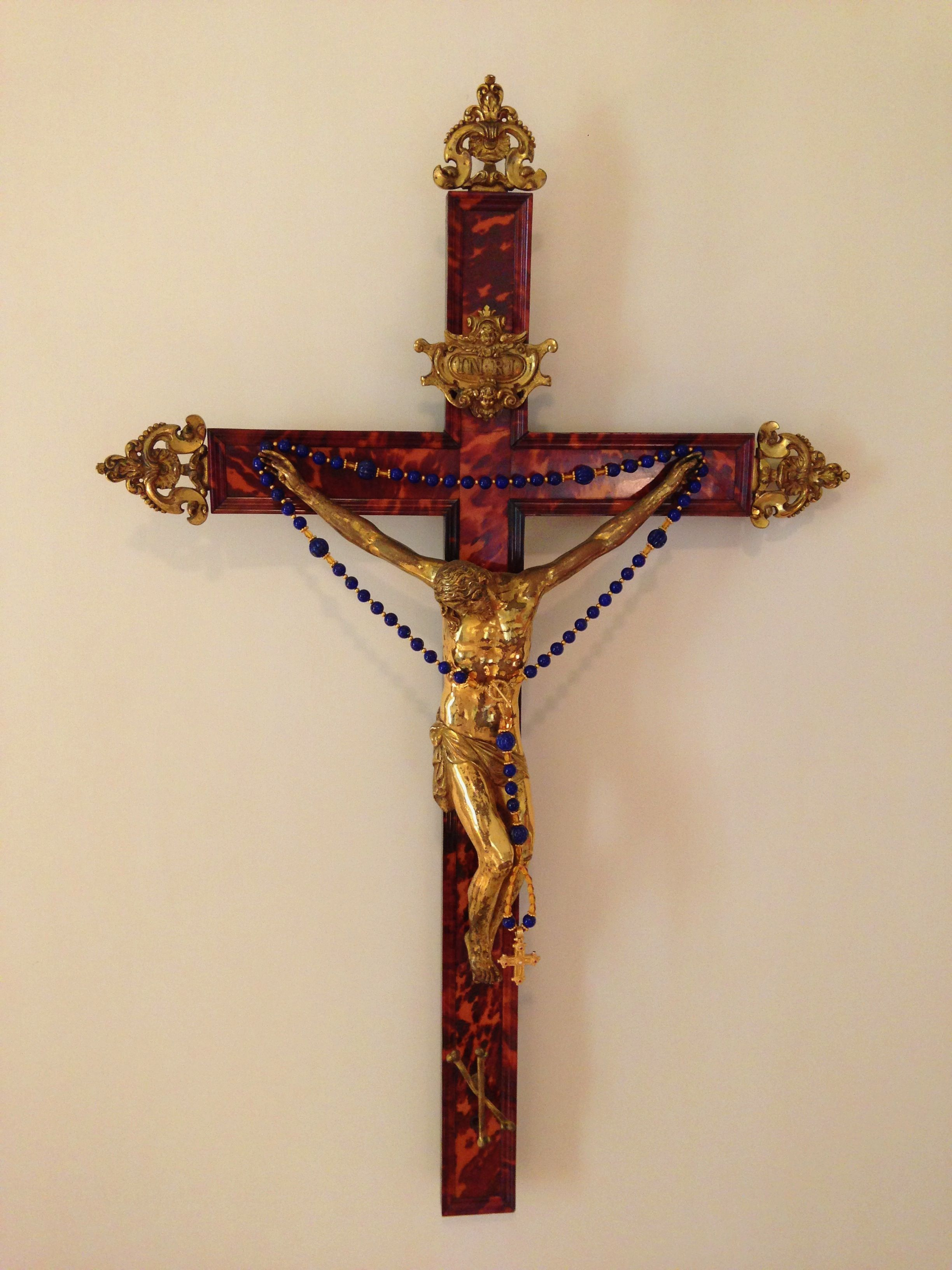 The Tortoiseshell Crucifix Over My Bed With A Rosary I Made Of Lapis