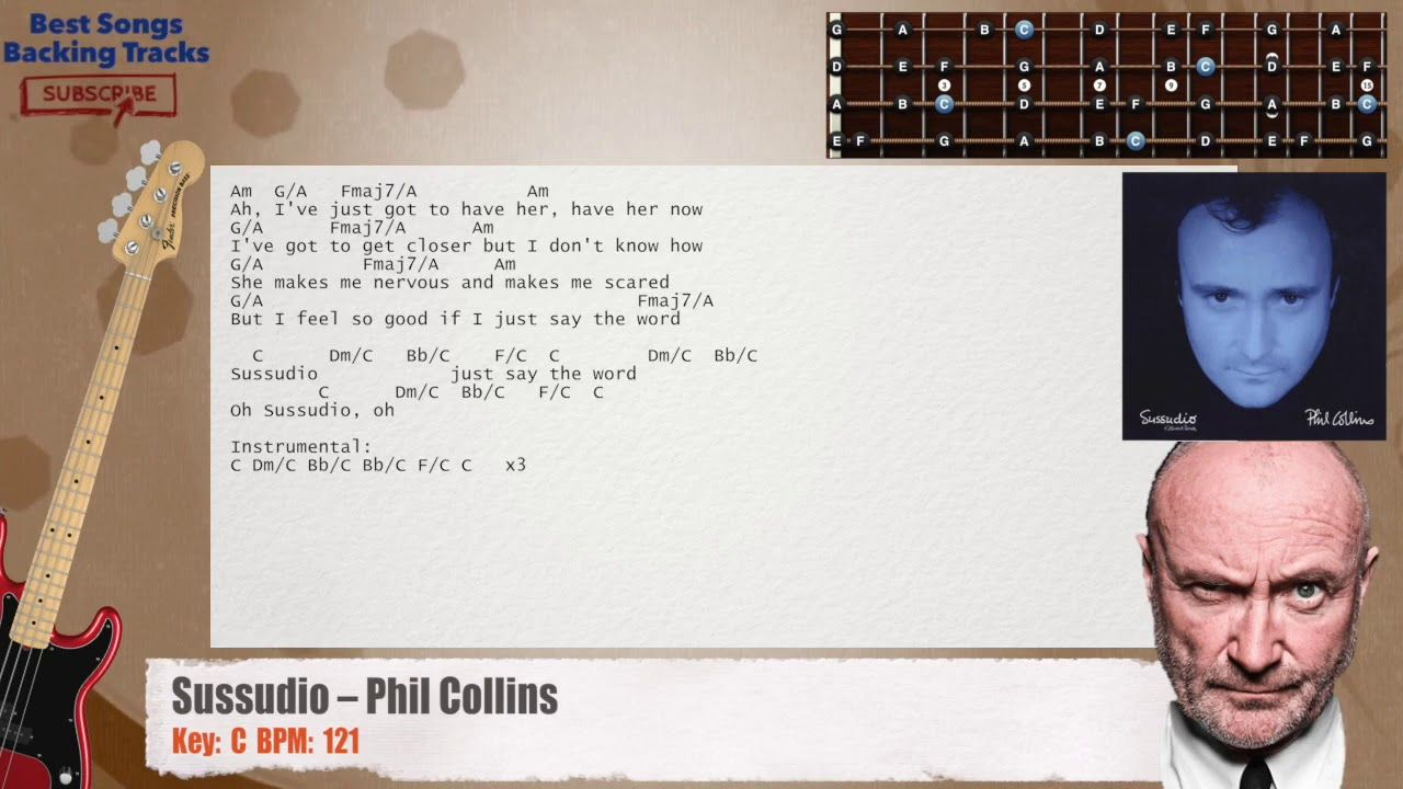 Sussudio Phil Collins Bass Backing Track with chords and