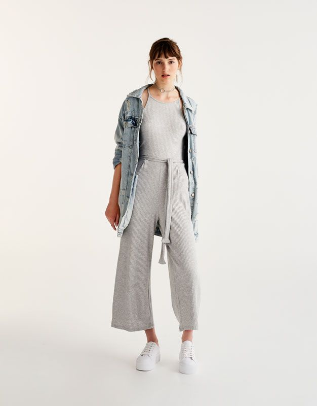 69dc24f2 Pull&Bear - mujer - ropa - petos y monos - mono culotte canale - gris -  09635216-I2017