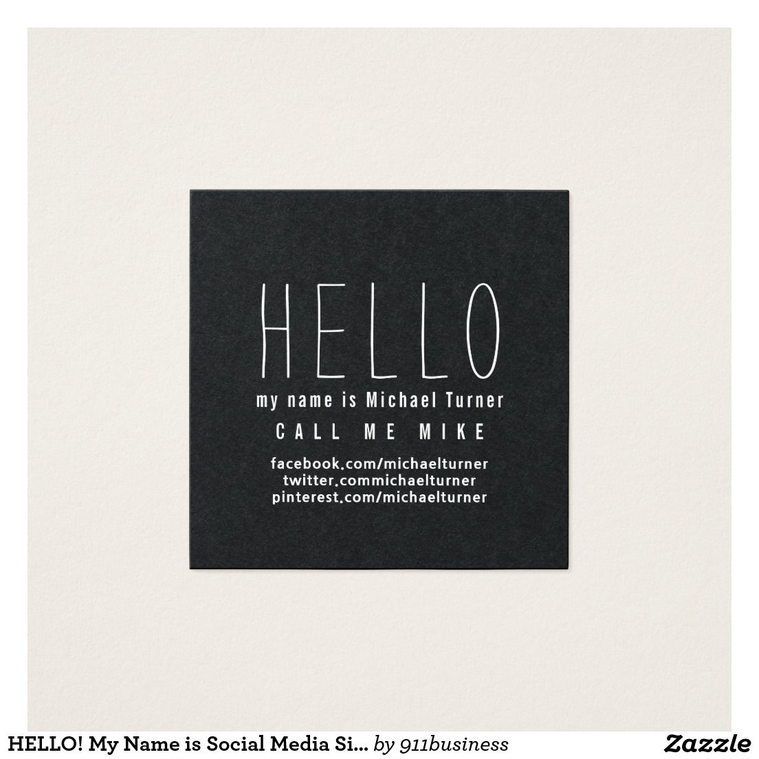 Hello let me introduce myself minimal trendy business cards black white elegant business card template social media simple square business card flashek Gallery