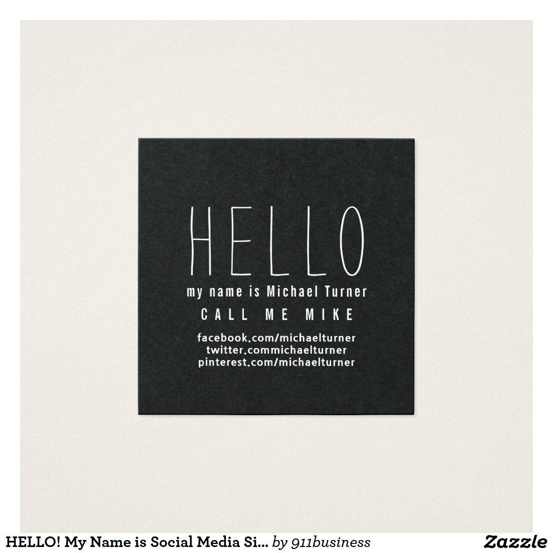 HELLO My Name Is Black White Elegant Business Card Template - Social media business card template