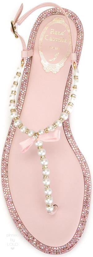 RENE CAOVILLA Embellished Thong Sandals Pink   LOLO❤︎