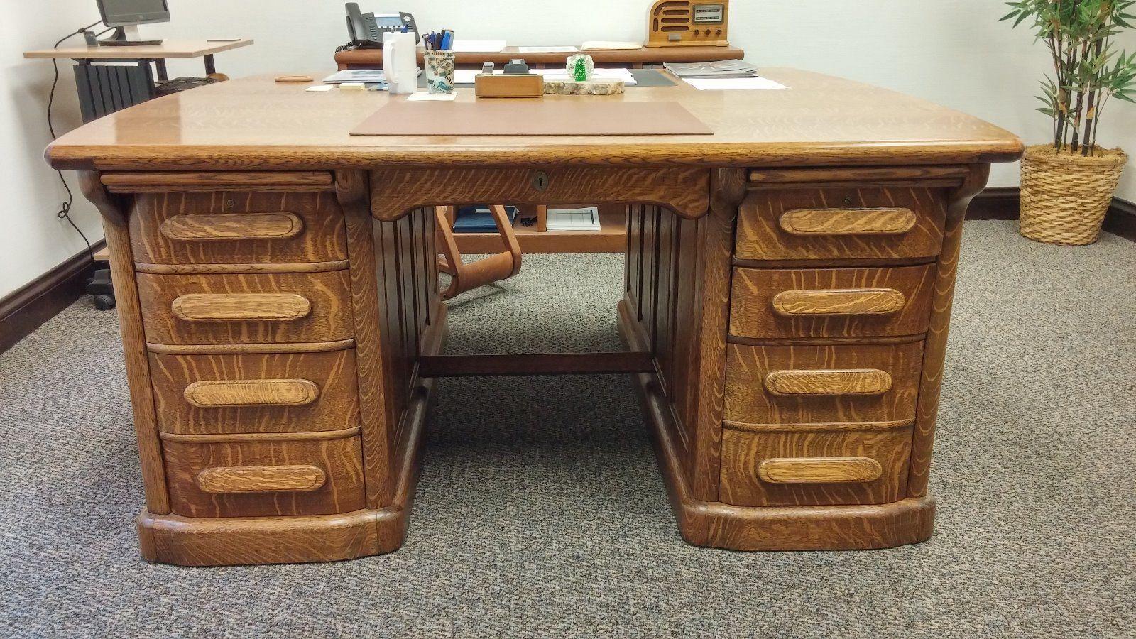 antique american oak partners desk ebay quartersawn oak