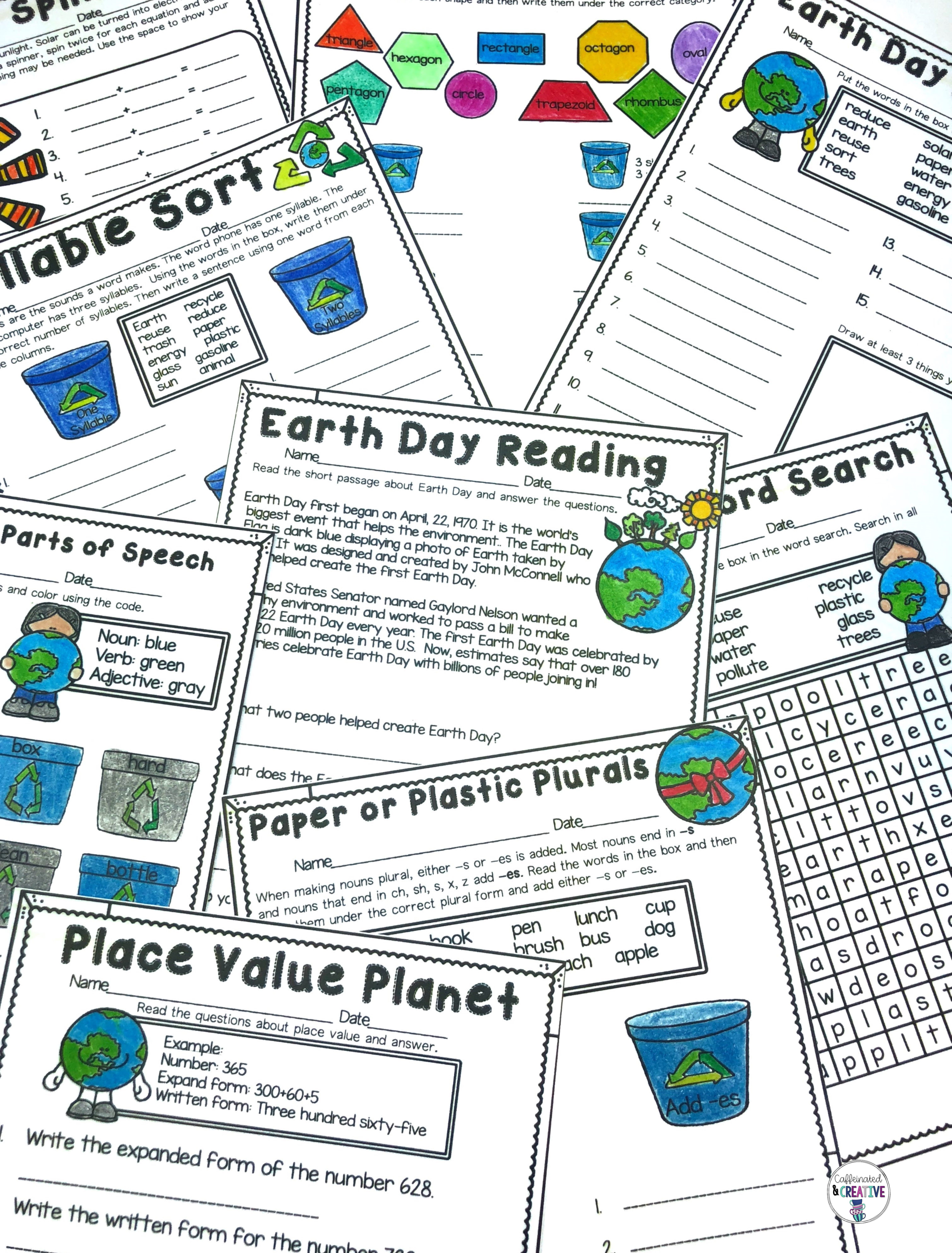 Earth Day Literacy And Math No Prep Mini Unit For Second