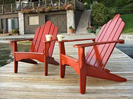 red adirondack chairs--on a dock makes them even better:)