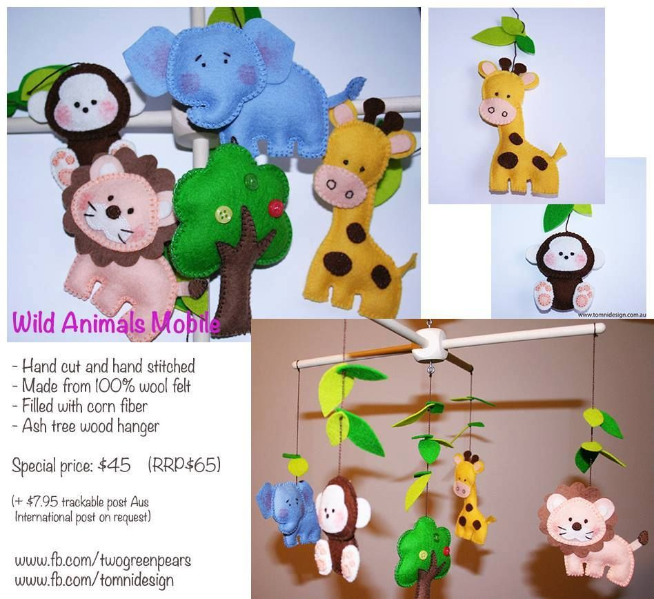 Handmade by Two Green Pears Baby Mobile featuring zoo / wild animals