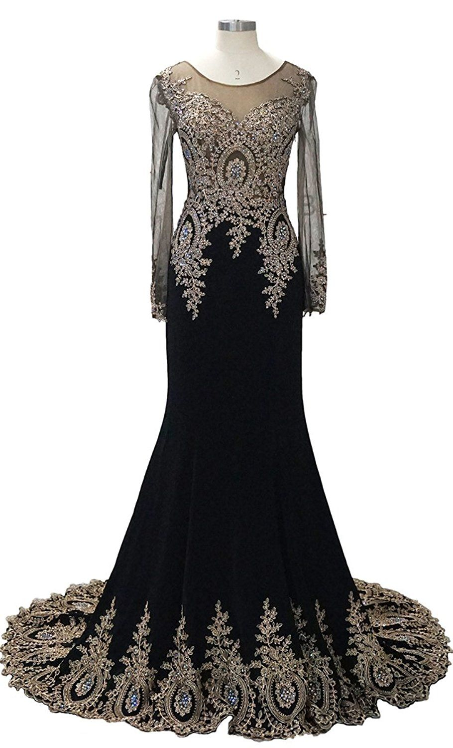 4c41c098d42 Babyonline Trumpet Long Evening Dress Lace beads Long Sleeve Party Prom  gowns     To view further for this item