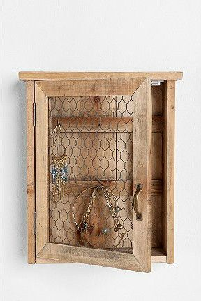 Reclaimed Wood Wall Jewelry Holder eclectic storage and