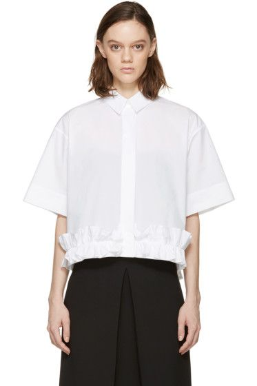 White Poplin Ruffle Shirt Alexander McQueen Discount With Credit Card Buy Cheap 2018 ly68UlY4
