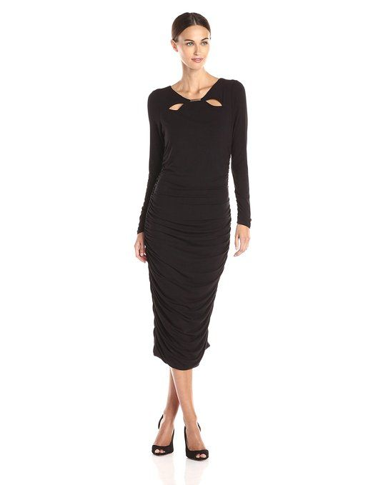 4540cb67a5e3 Adrianna Papell Women's Long Sleeve Shirred Side Scoop Neck Dress #Fashion # Dresses