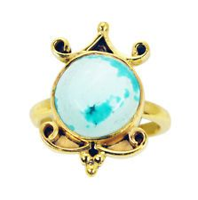 lovely Turquoise Copper Turquoise Ring Designer L-1in US 5678