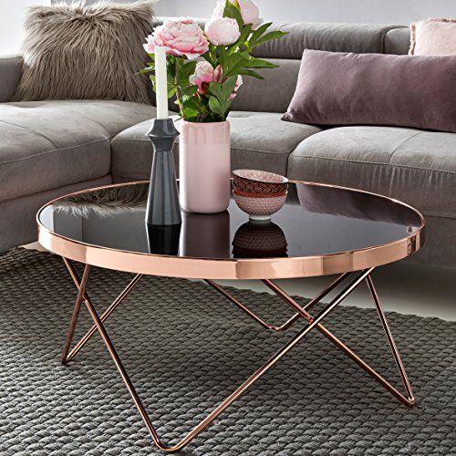FineBuy Design Couchtisch Round ø 82cm Rund Glas Kupfer Runder - Moderne Tische Fur Wohnzimmer
