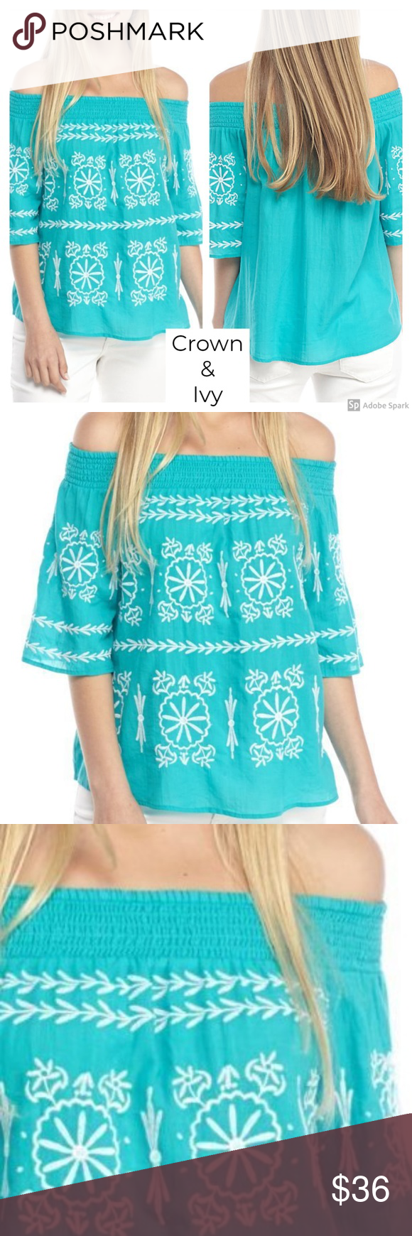 142ed2d434 Crown   Ivy Off Shoulder Embroidered Turquoise Top CROWN   IVY women s  Turquoise blue woven smocked
