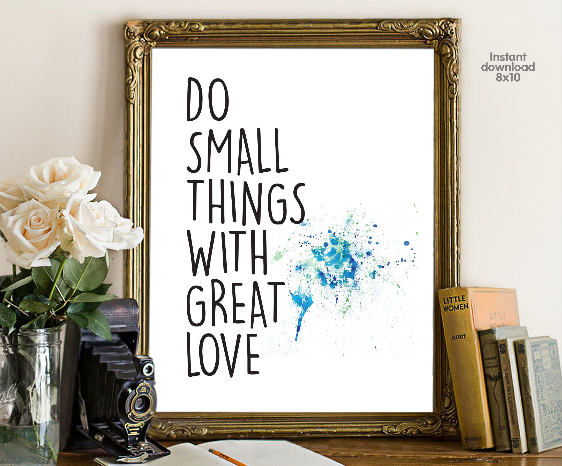 inspirational wall art for office. Do Small Things With Great Love, Floral Office Decor Typography Inspirational Wall Quote Printable, Motivational Art For O