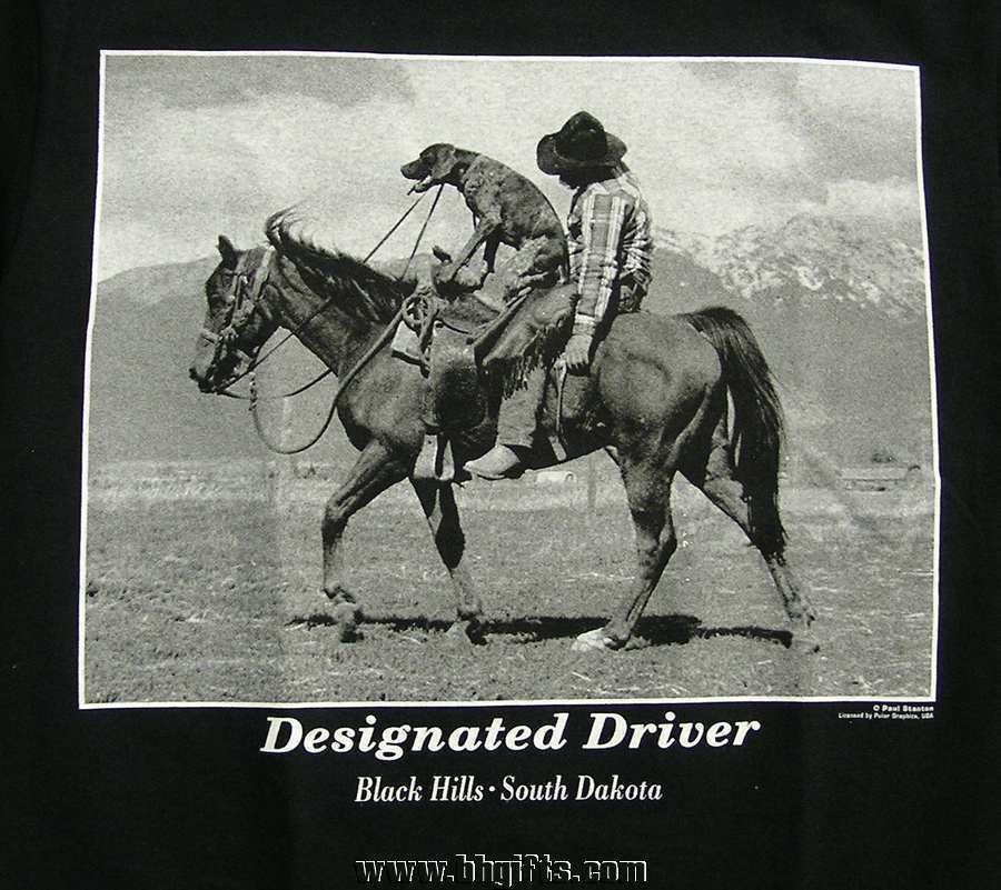 Adult Designated Driver Cowboy Humor T Shirt S L Xl