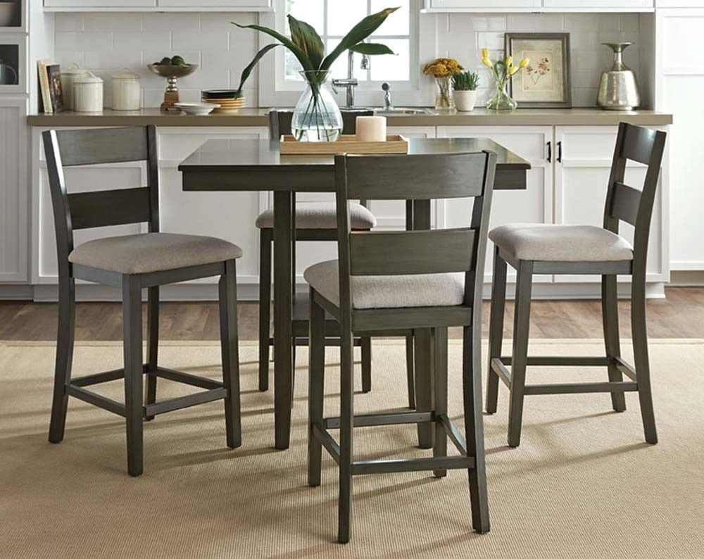 Weathered, Soft Gray Dinette | Loft 5 Piece Counter Height Dining ...